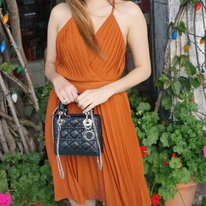 Endless Rose Burnt Orange Pleated Mini Dress